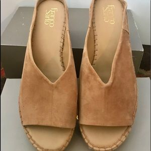 Franco Sarto Shoes - Tan leather wedges with open back
